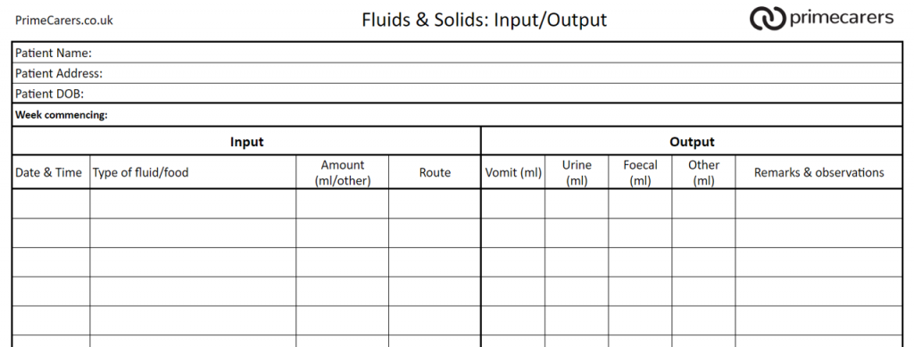A monitoring sheet to helptrack how much water your loved one is consuming