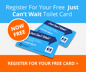 Register for your free just can't-wait toilet card for continence issues