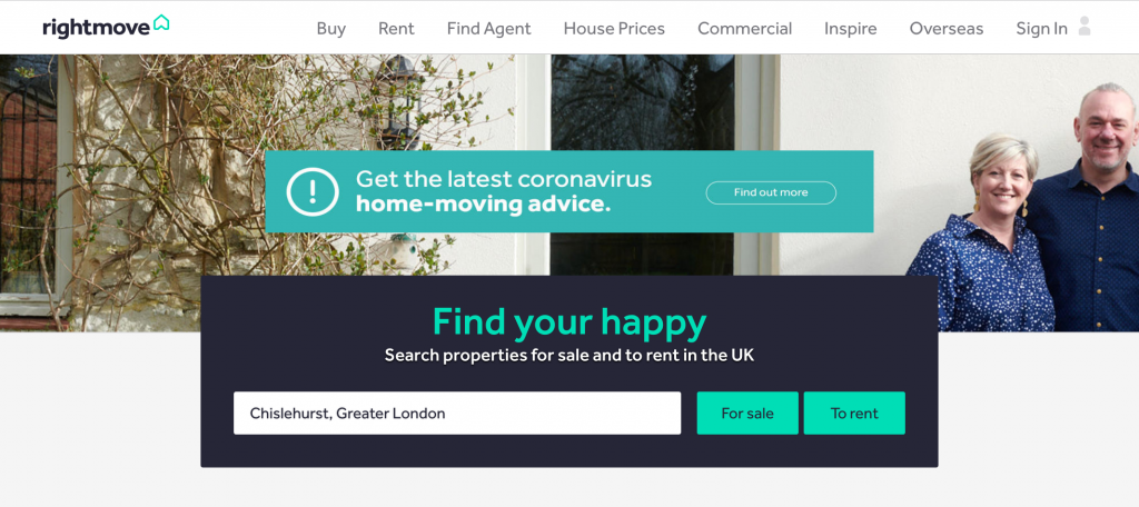 The RIghtMove hompage where we've entered our location to find Granny Annexes for sale.