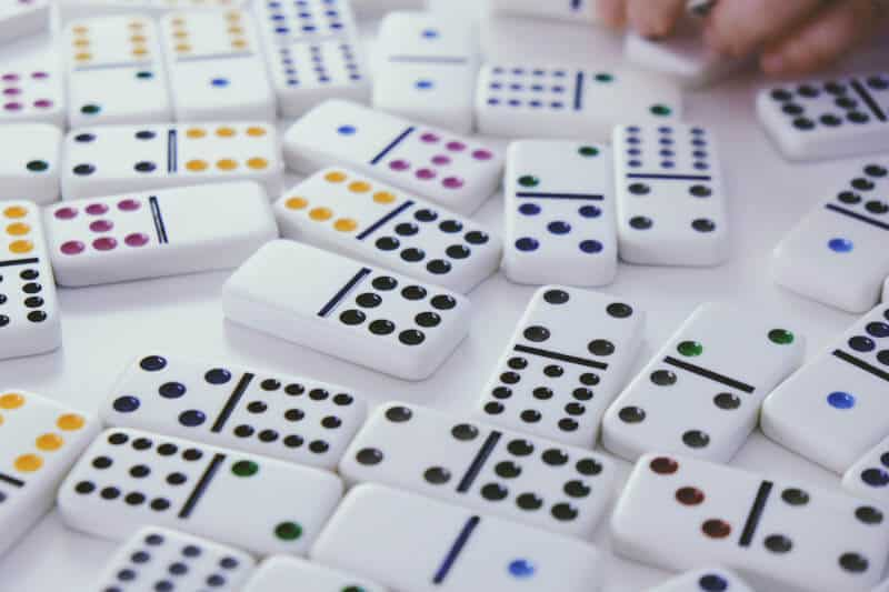 Picture of some dominoes. Dominoes and other games are good at cognitivie stimulating for those with dementia.