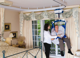 A ceiling hoist costs more to install but it can allow a carer to move your loved one on their own and may save money in the long run.